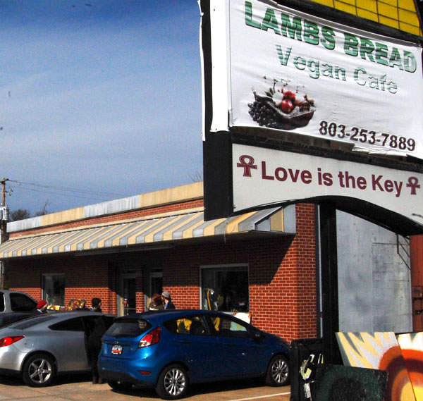 Customers linger outside of Lamb's Bread