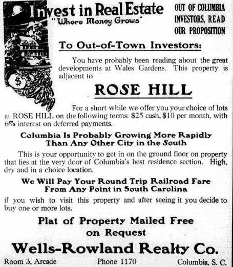 Early real estate ad for investors in Rose Hill