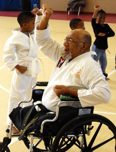 Ulysses Cornelius instructs karate