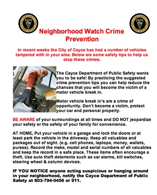 Flyer how to prevent break ins