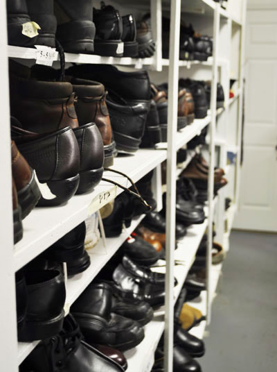 Shelf full of work shoes