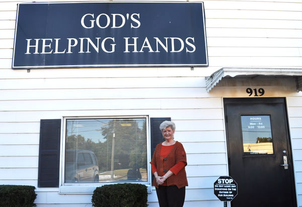 Linda Keisler outside God's Helping Hands