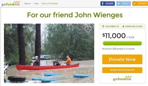 Screenshot of GoFundMe page for Wienges