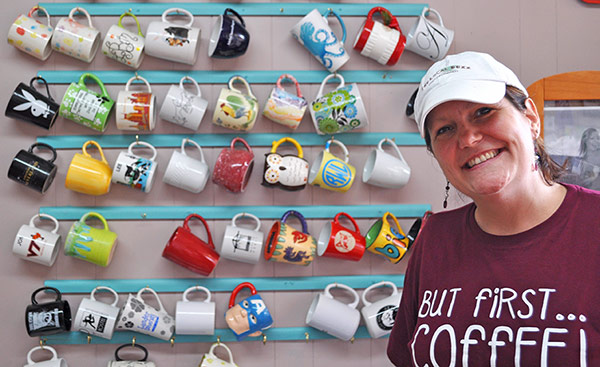 Stephanie Bridgers and mugs