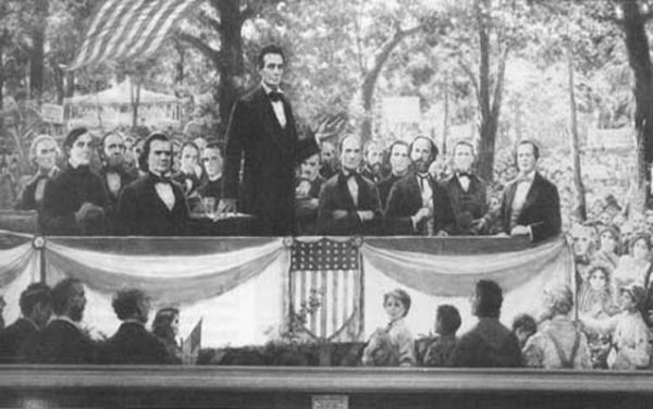 Abraham Lincoln speaks at the presidential debate of 1858