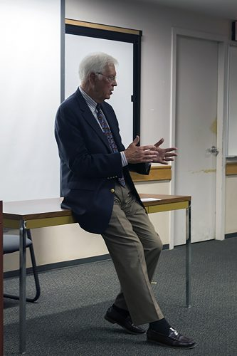 Talk Radio host and political commentator Bill Press addresses Fowler's class. Fowler often has politicians, those involved in government and members of the media visit his class to speak to students.