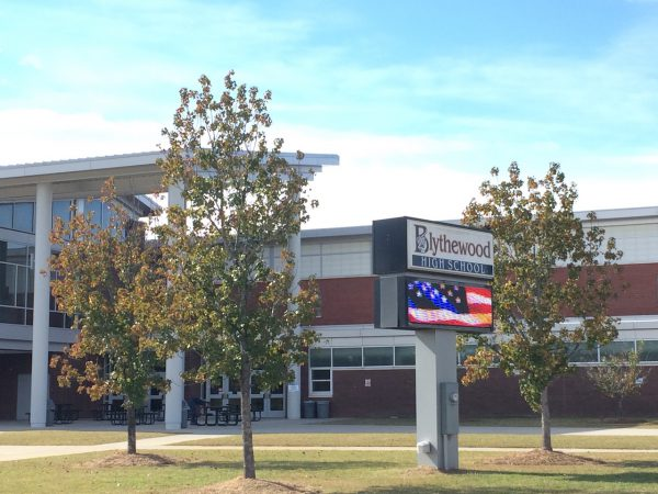Blythewood High School's electronic sign displays an American flag