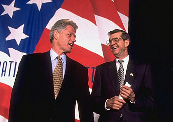 Fowler stands with Bill Clinton at the 1996 Democratic Convention when Fowler was party chair. Courtesy: Donald Fowler