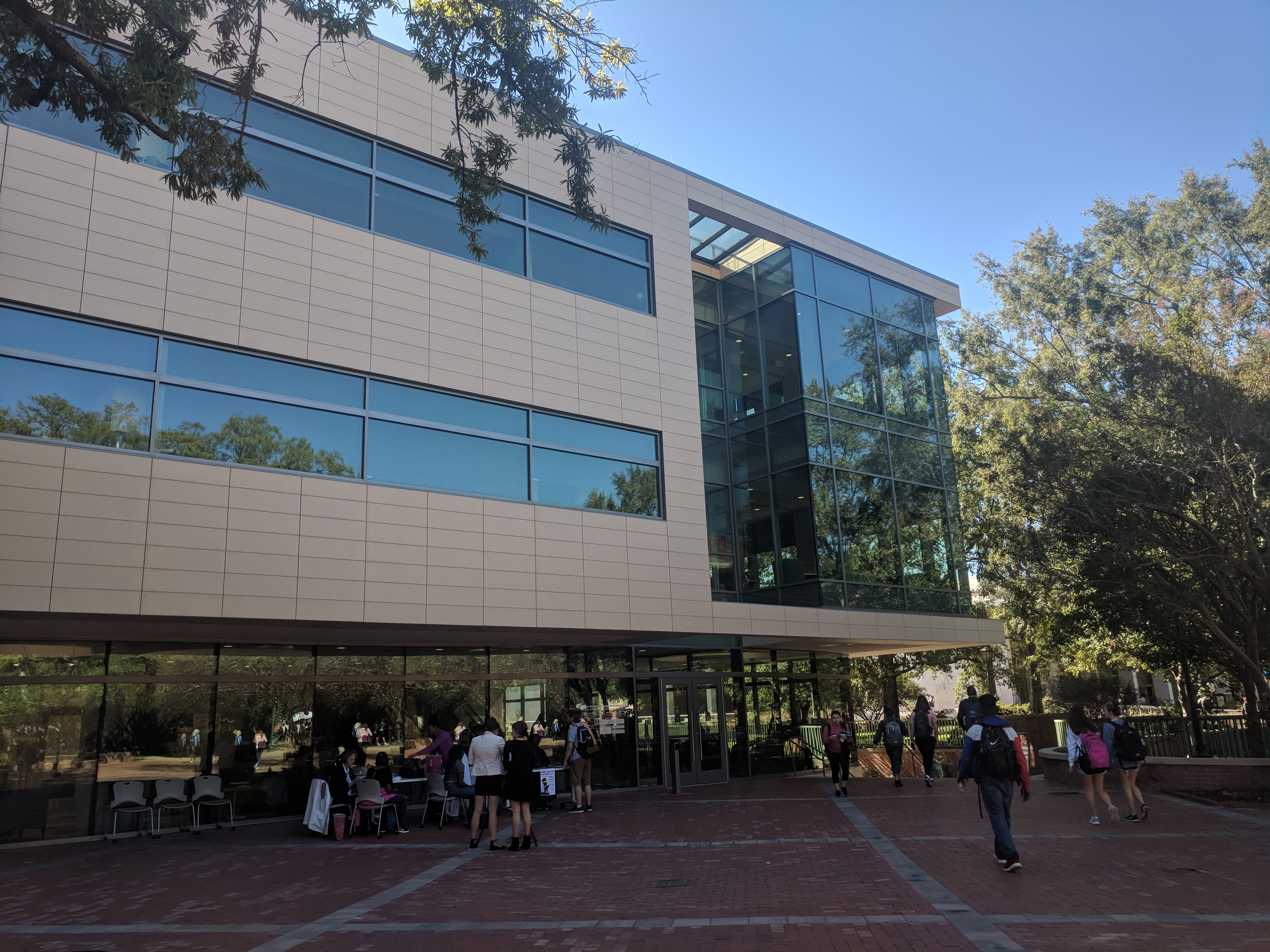 The glass and beige construction is next to Russell House and the Thomas Cooper Library.