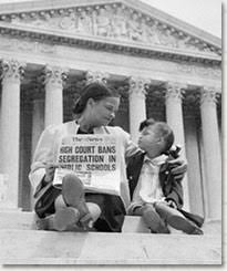Mother and daughter celebrating desegregation